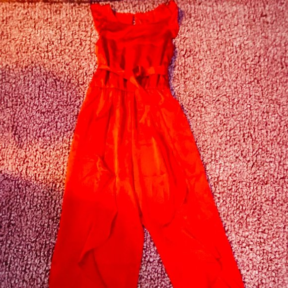 Red Ruffled Jumpsuit for Girls